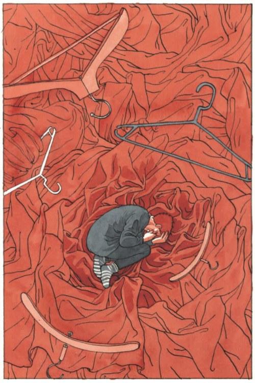 Yksityiskohta Tiitu Takalon sarjakuvateoksesta Memento mori, kivusta kärsivä nainen kippurassa.