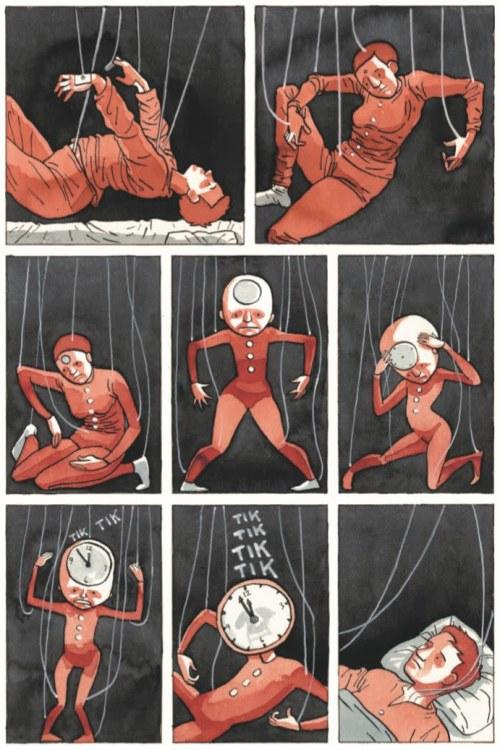 Yksityiskohta Tiitu Takalon sarjakuvateoksesta Memento mori, nainen sairaalan letkuissa kuin marionettinukke, jota liikutetaan naruilla.