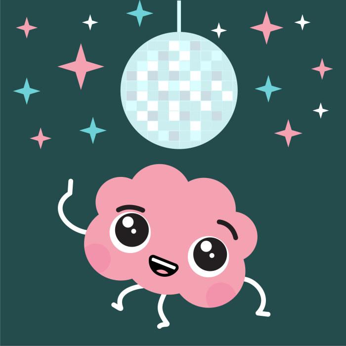 aivohahmo tanssii peilipallon alla