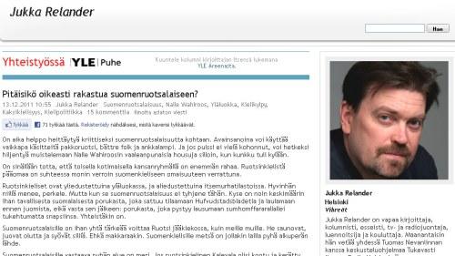 Finlandssvenskar foredrar haavisto