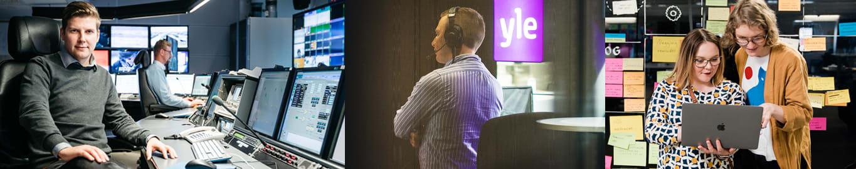 Kuvia Ylen mediateknologian parissa työskenteleviltä