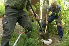 Uppsamlingskärlet för urin grävdes ner