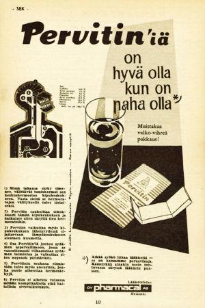 Pervitin-särkylääkkeen mainos Kouluradio-lehdessä.