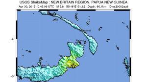 Karta över jordbävningsdrabbat område i Papua Nya Guinea