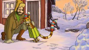 Viiru ja Pesonen tekivät lumilyhdyn