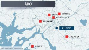 Karta över de olika alternativa placeringarna av koloniträdgården i Kuppis.