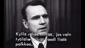 Pääjohtaja Mauno Koiviston puhe tekstitettiin selkokielelle Veräjä-ohjelmassa 1977.