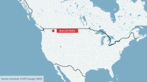Karta över USA med staden Rockford i Washington markerat.