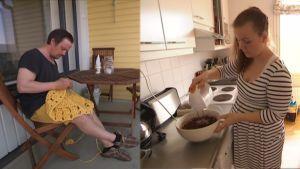 Tero virkkaa ja Tiia vatkaa muffinssitaikinaa omassa kodissaan Tampereella.