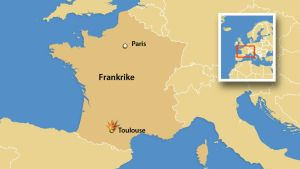 En karta över Frankrike som visar Paris och Toulouse