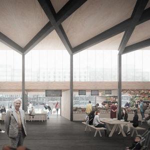 Förslag B 21.3.2016: En tillfällig glashall på Hagnäs torg under renoveringen av hallen