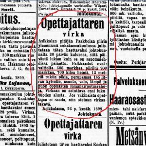 Opettajattarenvirka Asikkalan pitäjässä Uusi Suometar -lehdessä 1.7.1899