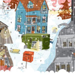En stad med många gråa hus på ena sidan av ån och färgglada på den andra