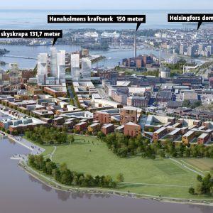 Vy över nya Helsingfors med Fiskehamnen och centrum.