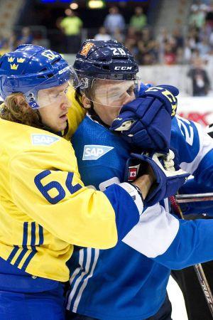 Carl Hagelin, Lauri Korpikoski och Jacob Silvferberg, inför World Cup 2016.