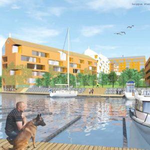 Skiss av hur det nya området ska se ut där gamla tvålfabriken står idag på Brändö i Vasa.