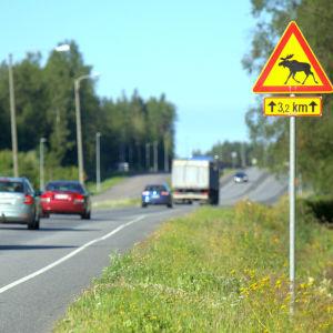 Älgvarning vid förlängningen av Smedsby omfartsväg.