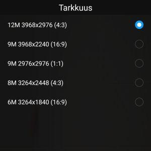 Android-puhelimen kuvakoon valikko.