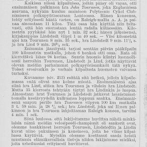 Lehtijuttu polkupyöräkilpailusta Helsingissä v. 1894. Mukana muun muassa Arvid Lind.