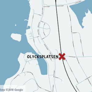 Karta med olycksplatsen markerad