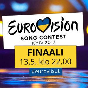 Kuvassa lukee Eurovision Song Contest Kyiv 2017, Finaali 13.5. klo 22.00, #euroviisut. Tekstin oikealla puolella on Euroviisujen voittajan palkinto.