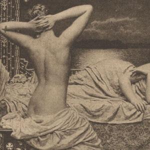 Vanha postikortti, jossa alastomia naisia