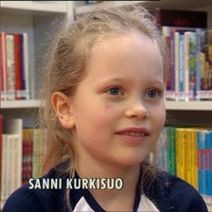 Sanni Kurkisuo 8-vuotiaana haastattelussa 2001.