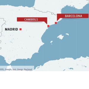 Karta över Spanien med Barcelona och Cambrils.