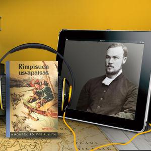 Kirjoja, kompassi, Rimpisuon usvapatsas -kirja ja A. E. Ingmanin kuva pöydällä