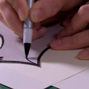 Rita hönans konturer och egenskaper med en svart tusch.