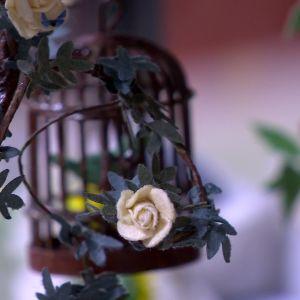 Rosor och fågelbur i miniatyr