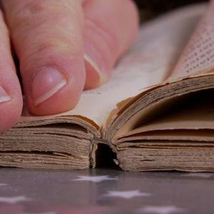 Riv sidor ur en gammal bok.