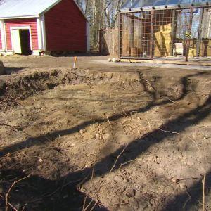Platsen för potagere-trädgården preparerad och uppgrävd