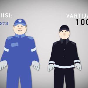 Vartijan koulutus kestää huomattavasti vähemmän kuin poliisin.