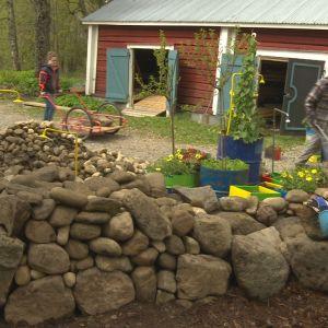 Folk i arbete med stenmuren
