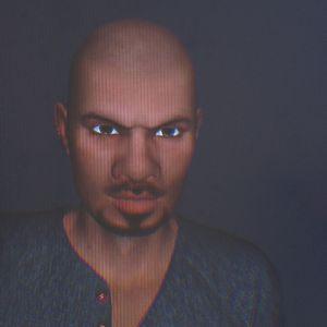 tummaihoinen virtuaaliavatar kurtistaa kulmiaan