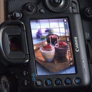 Kuvassa ruoka-annos kameran etsimen läpi katsottuna.