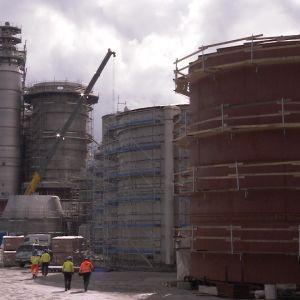 Metsä Groupin biotuotetehtaan rakennustyömaa Äänekoskella