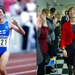 Två bilder på Sari Essayah - en som idrottare, en som politiker.