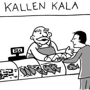 Kalatiskillä kauppias ojentaa kalaa vaikka ostaja ei ole vielä antanut rahaa.
