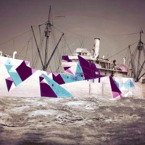 Kuvitelma dazzle-maalatusta laivasta