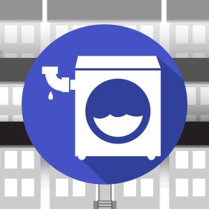 Grafiikka: pyykinpesukone, taustalla kerrostaloja.