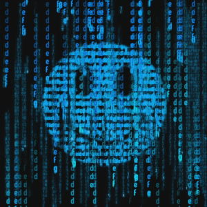En smiley-emoji med Matrixgrafik.