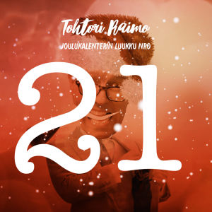 Piirretyssä kuvassa on lumihiutaleita, numero 21 ja taustalla hahmo.