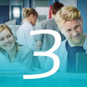 syke-sairaalasarjan vastaanotto ja henkilökuntaa sekä numero kolme.