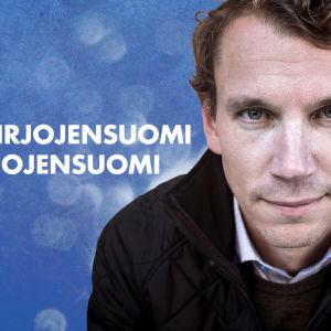 Kirjailija Juha Itkonen katsoo kameraan.