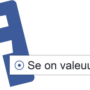 Facebookin logo, Facebookista otettu valintavaihtoehto Se on valeuutinen