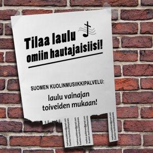 Suomen kuolinmusiikkipalvelun ilmoitus omasta hautajaislaulusta.
