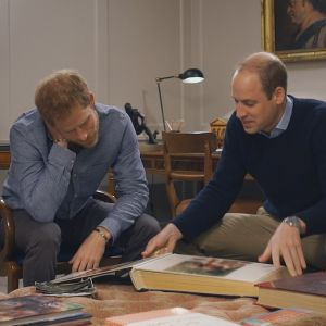 Prinssi Harry ja prinssi William tutkivat valokuva-albumia.