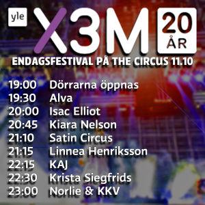 Schemat för X3M 20 endagsfestivalen